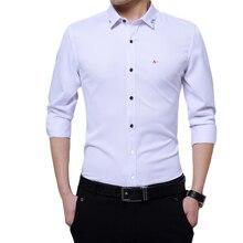 DUDALINA Top Men'S Clothing Brand 2017 Fashion Male Shirt Long-Sleeves Tops Simple Solid Color Mens Dress Shirts Slim Men Shirt