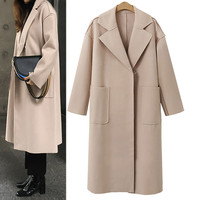2017 Women Long Sleeve Oversize Loose Cashmere Woollen Jacket Cardigan Coat Overcoat Womens Jackets And Coats