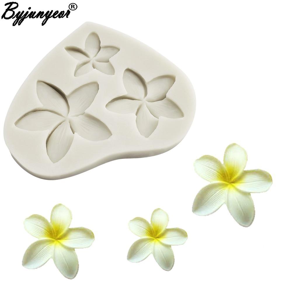 Плюмерия цветок силиконовая форма для шоколадной мастики помадка форма для украшения торта toolsM2352 силиконовая форма