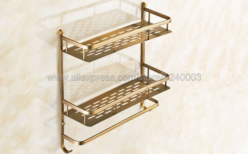 Bathroom Shelves 2 Layer Antique Metal Shower Corner Shelf Wall Mount Shampoo Storage Shelf Rack Bathroom Basket Holder Kba527 - 2