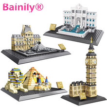 WanGe 7011-7017 Great architectures Building Block Sets Educational DIY Bricks compatible with legoed small baseplate gift toy