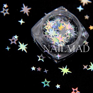 Image 5 - 1 תיבת מתומן הולוגרפית הולו כוכבים ציפורניים פאייטים כוכב צלב כוכב גליטר תערובות נצנצים נייל ארט קישוטי
