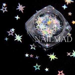 Image 5 - Mezcla de purpurina y estrellas holográficas, 1 caja, estrellas, lentejuelas, Cruz, estrellas, adornos Nail Art