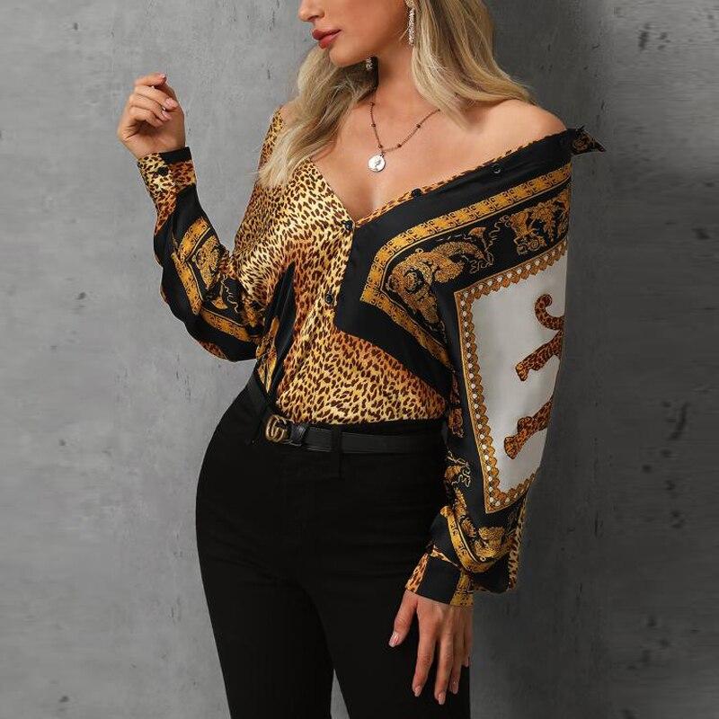 Colorblock Leopard Print   Blouse   Women Contrast Collar   Shirt   Elegant Ladies Workwear Button   Blouses