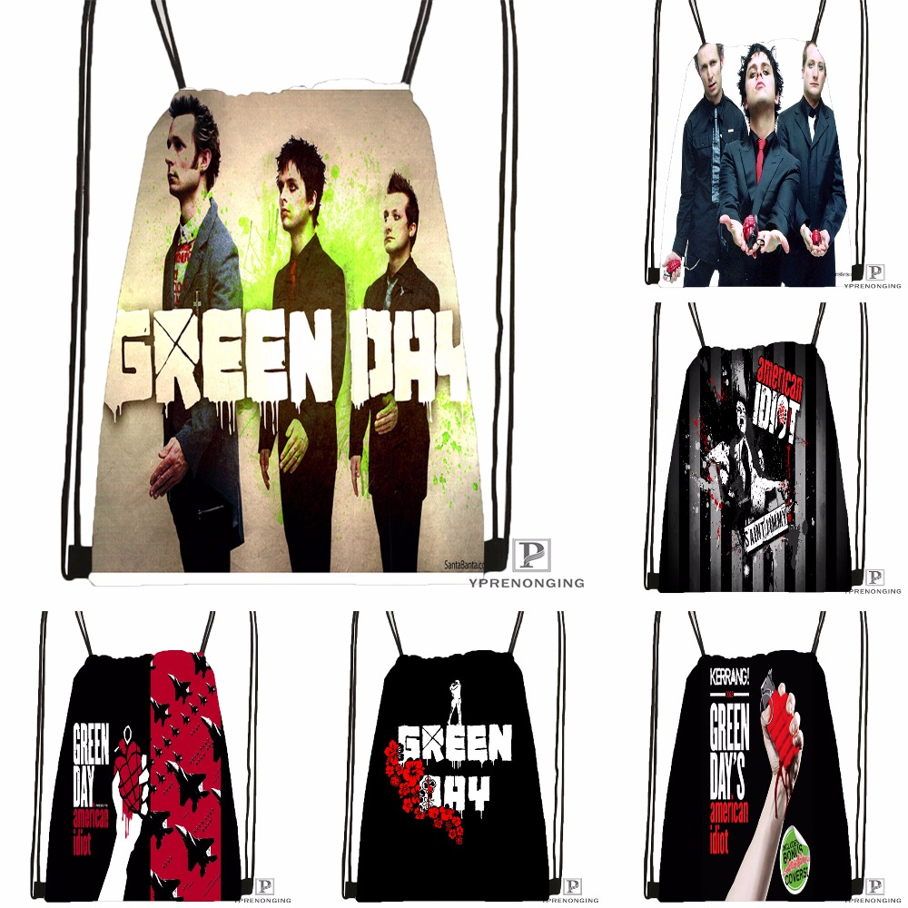 Custom Green Day  Drawstring Backpack Bag Cute Daypack Kids Satchel (Black Back) 31x40cm#180531-04-40