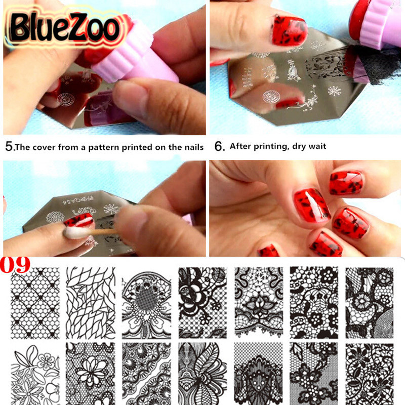 ⑥BlueZoo 1pc/pack Nail Rectangular Stencil Printing Stickers Lace ...