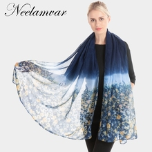 Neelamvar Winter Scarf Women Cotton Polyester Voile Floral Pattern Thin Scarfs Vintage Shawl Sjaal Bufandas Foulard Good Quality цена