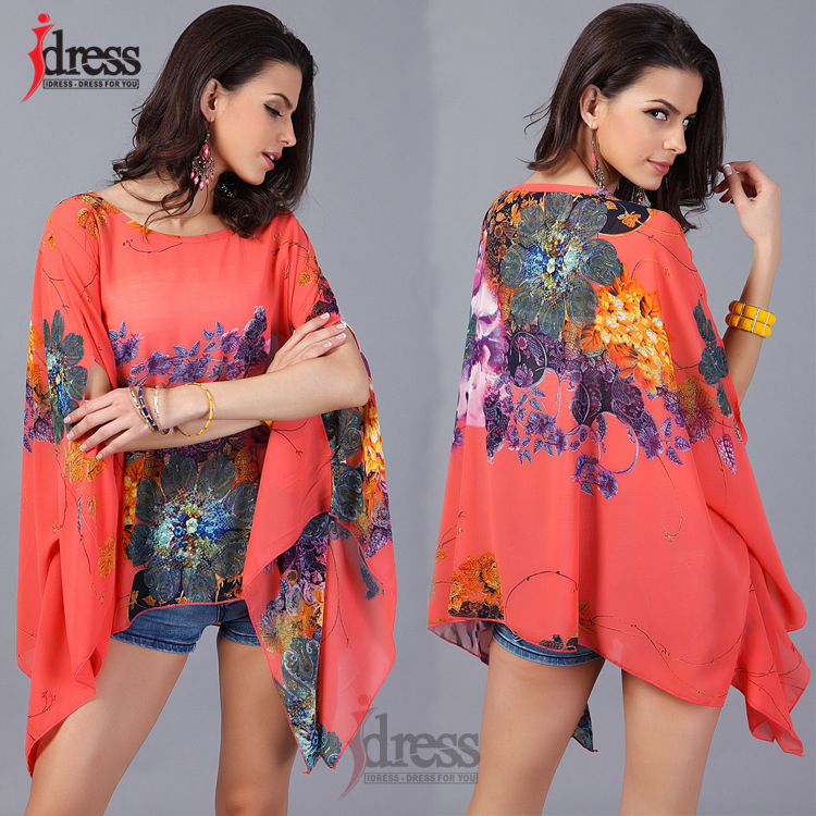 IDress Plus Size Women Clothing 2017 Summer Fashion Sexy Chiffon Tops for Women Vintage African Print Short Sleeve Sexy T Shirt (4)