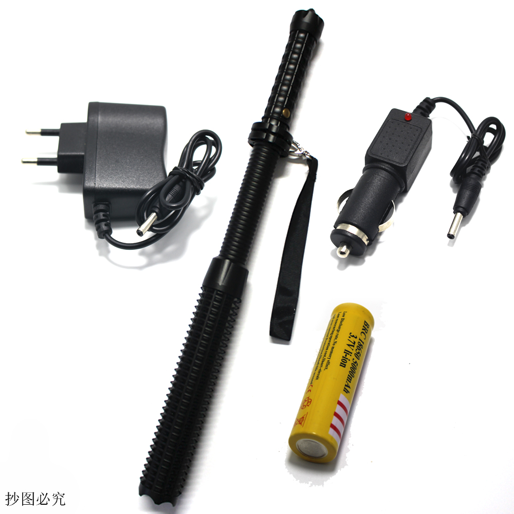 Powerful led flashlight 18650 CREE Q5 Telescopic baton self defense police 1101 Patrol LED rechargeable flash