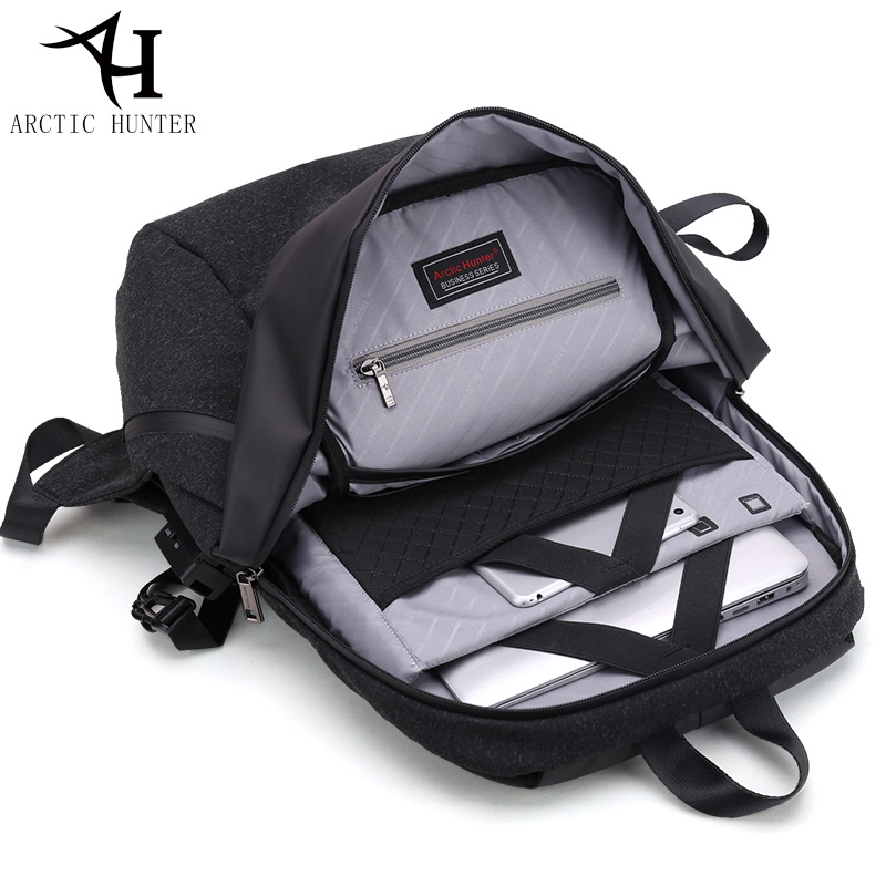 ARCTIC HUNTER 2018 Alarm Anti-theft Design Laptop Backpacks Black/White/Gray Backpack Male waterproof Travel Bag Men