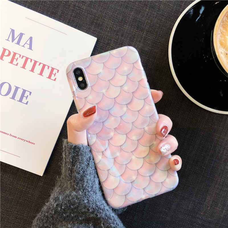 Pink mermaid scales phone case For iphone XS Max XR XS for