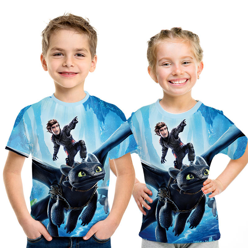 How To Train Your Dragon 3 The Hidden World 3d T-shirt Boys Girls Newest Movie Print T Shirt Kids Harajuku Parent-child T-shirt