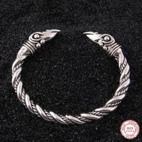 Yage DropShipping 925 Sterling Silver rune Raven viking bangle adjustable
