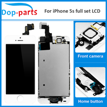 цены на 50Pcs Wholesale Full Set LCD For iPhone 5s LCD Display home button + front camera Touch Screen Digitizer Assembly Replacement  в интернет-магазинах