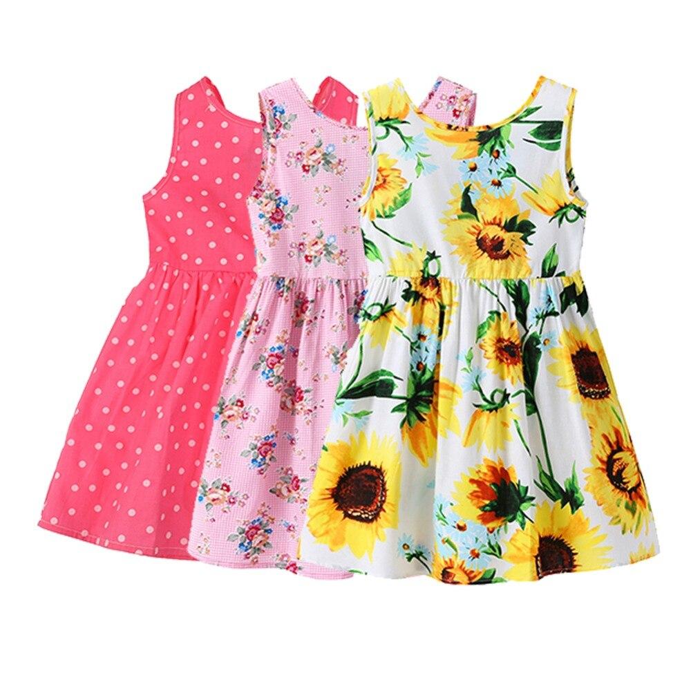 1-7T Summer Dress Baby Girls Kids Beach Clothes Cute Floral Dot Print Party Sleeveless O-Neck Dress Vintage Toddler Clothing женское платье summer dress 2015cute o women dress