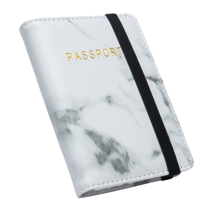 Advanced White Marble Pattern Pu Leather National <font><b>Passport</b></font> Cover Credit Card Holder <font><b>Passport</b></font> Holder With Bandage image