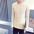 2017 Novos Homens Estilo Britânico de Moda Blusas de Manga Longa O-pescoço Pulôver Outono Inverno Masculino Torção Malhas Jumpers