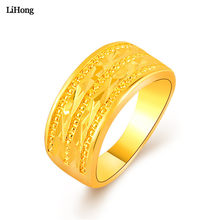 2019 Fashion Jewelry Exquisite 24K Alluvial Gold Color Ring Jewelry Anti-Allergic Ring Men And Women Fashion Anniversary Ring(China)