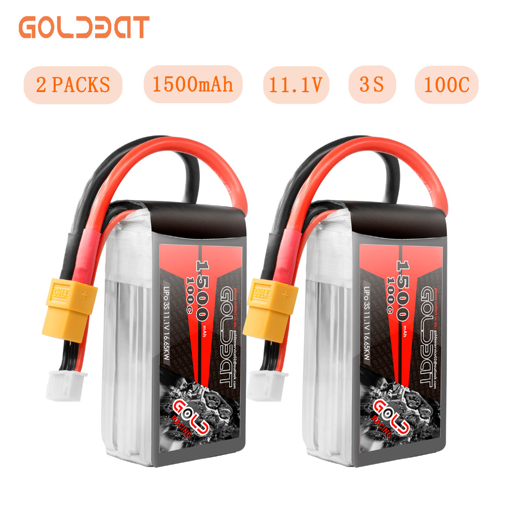 Unidades 2 GOLDBAT 100C 3 S 11.1 V bateria Lipo 1500 mAh Bateria 3 S Lipo Bateria 1500 mah 11.1 v Softcase com XT60 Plug para fpv heli