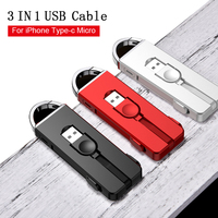 Oatsbasf 3 in 1 USB Cable for iPhone XS XR Oppo Find X Mobile Phone cable for One Plus 6 5T Xiaomi Mi Mix 2 2S USB Cable Type C|Mobile Phone Cables|   -