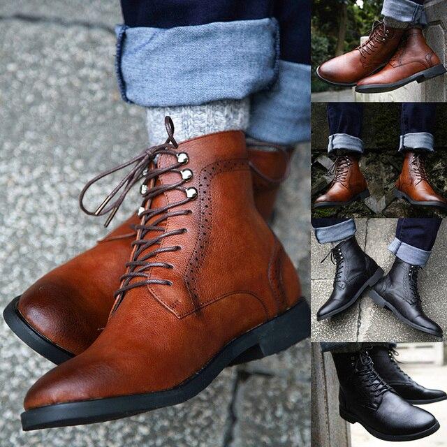 COSIDRAM Kış Ayakkabı Moda Erkek Dantel Kadar Sıcak yarım çizmeler Erkekler Perçin Brithsh Ayakkabı Erkekler Pu Deri Çizmeler BRM-053