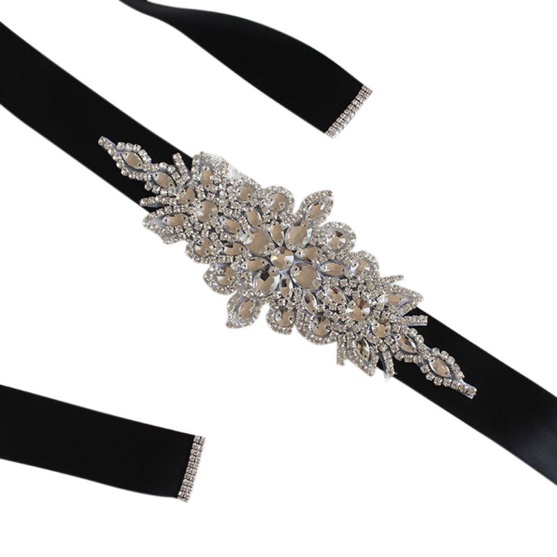 Women Wedding Sash Elegant Rhombic Rhinestone Faux Crystal Ribbon Bridal Wide Waist Belt Jewelry Dress Cummerbund Waistband