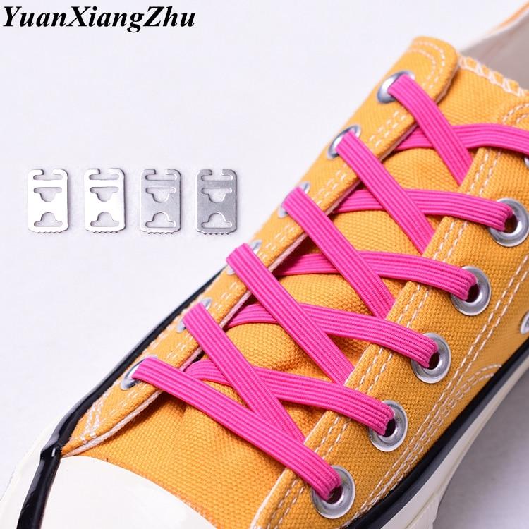 1Pair No Tie Shoe Laces Elastic Rainbow Color Sneakers Shoelaces Kids Adult Quick Shoelaces Stretching Lock Lace Flat Lacets
