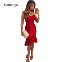 Ziamonga Women Red Lace Dress 2017 New Sexy V Neck Evening Party Bridesmaid Mother Of Bride