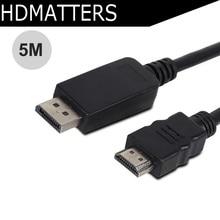 5 м Displayport/HDMI кабель HDTV аудио и видео кабель Dp мужчина к HDMI Мужской (медный проводник + фольгирование + AL оплетки)