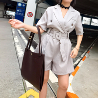 2017 Summer Wear New Product Easy Fashion Leisure Time Temperament Suit High Waist Shorts Woman