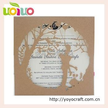 Cheap kraft paper bride groom laser cut wedding cards template printable wedding engagement card with ribbon rhinestone
