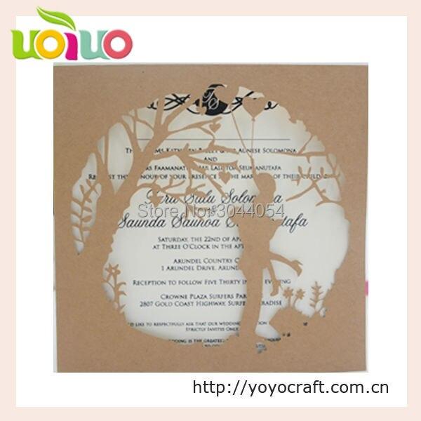 Cheap kraft paper bride groom laser cut wedding cards template - engagement card template