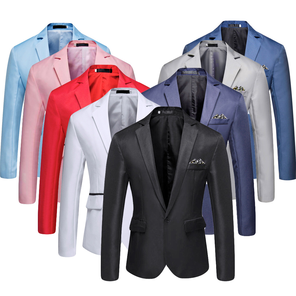 Blazer Suit Coat Polyester-Fabric Business Wedding-Party Men's Casual High-Quality Stylish
