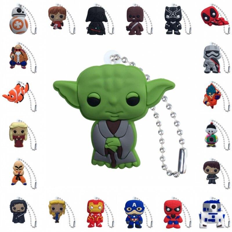 1000pcs wholesale PVC Keychain Cartoon Figure Star War Metal Ball Chain Key Chain Ball chain Christmas Gift Charms Trinket