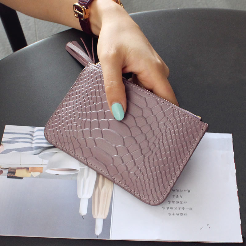 2017 Hot Sale Promotion The Big Snake Leather, Short Wallet, Simple, Slim Tassel, Zipper, Zero Purse, Female Card Bag, Coin Bag
