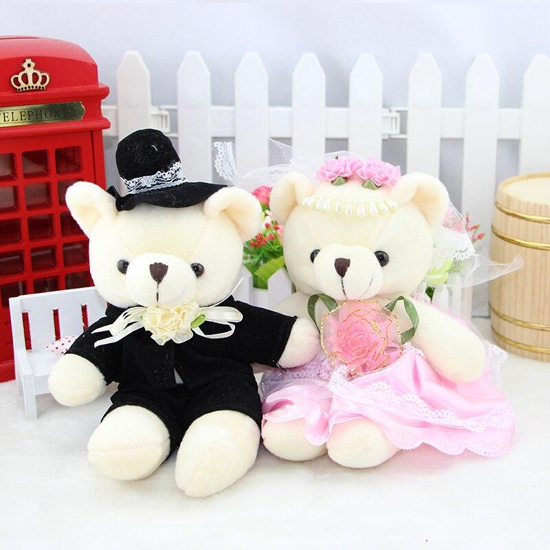 2pcs 16cm Kawaii font b Stuffed b font Dolls Couple Bear Wedding Teddy Bear Plush font