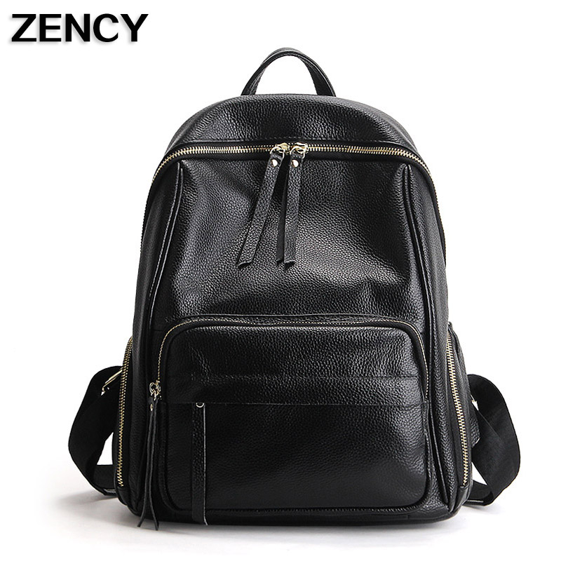 ZECNY 2017 Large <font><b>Real</b></font> Cow Skin Genuine Leather Women Ladies Backpack Top Layer Cowhide Girls School Bags Knapsack Rucksack