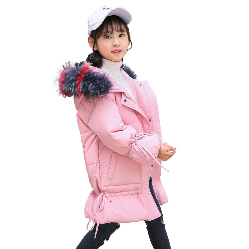 Winter Warm Thick Cotton-Padded Girls Colorful Fur Collar Down Long Jacket Child School Keep Warm Snow 2018 Hooded Clothes 2017 winter coat women parka long thick warm cotton jacket large fur collar hooded warm parkas cotton padded outerwear hn137