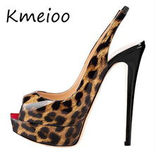 Kmeioo Women Shoes Platform Slingback Pumps Sexy Leopard High Heels Peep Toe Slip On Stiletto Evening Party Wedding Shoes byqdy wholesale girls spring sexy high heels women platform shoes peep toe pumps autumn wedding shoes women crystal pumps party