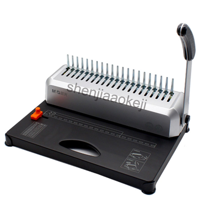A4 Paper Binding Machine Puncher Binder 21 Holes Binding Machine 12 Sheets Punching and Binding Office Home Tools A4, A5 contrast binding tee