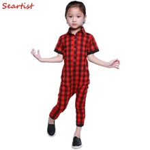Baby Boys Girls Summer Pajamas Newborn Red Plaid Tank Romper Toddler Cotton Rolled-sleeve Harem Jumpsuit 2017 New Fashion C25