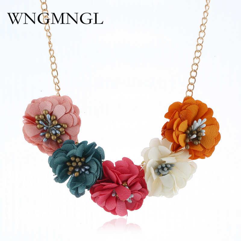 WNGMNGL Korean Fashion Choker Necklace Bohemia Flower Pendant Necklace For Women 2018 Female Sweater Coat Choker Jewelry Gift