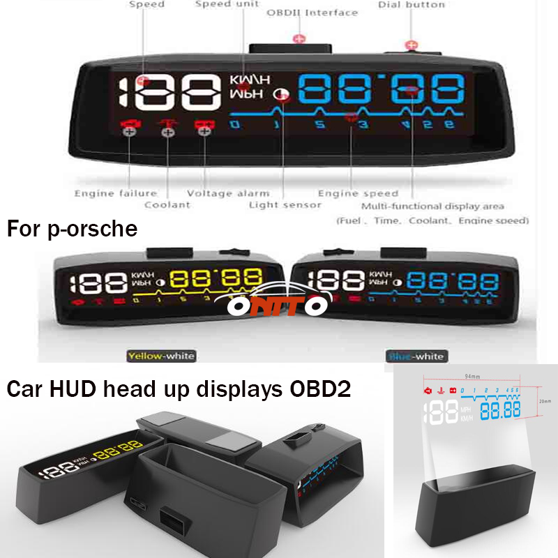 4F car head-up display HUD OBD2 water temperature for voltage 911 Boxster Cayman Cayenne Panamera Macan Auto Head display lamps universal 3 5 car hud a3 head up display with obd2 interface