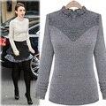2015 New Autumn Sweater Mulheres Alta Qualidade Lace Costura Moda Malha Camisolas assentamento Camisolas Lã Inverno SW057 Camisola