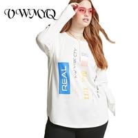 VWMYQ Oversized T Shirt Women Letter Print Tee Shirt Plus Size O Neck Long Sleeve Loose
