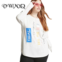 VWMYQ Oversized T Shirt Women Letter Print Tee Shirt Plus Size O Neck Long Sleeve Loose