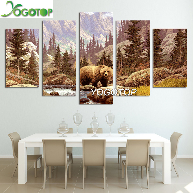 YOGOTOP DIY Diamond Painting Full Embroidery 5D Square Round Drill Mosaic Wall Decor Wildland Forest Animal Bear 5pcs ML648 in Diamond Painting Cross Stitch from Home Garden