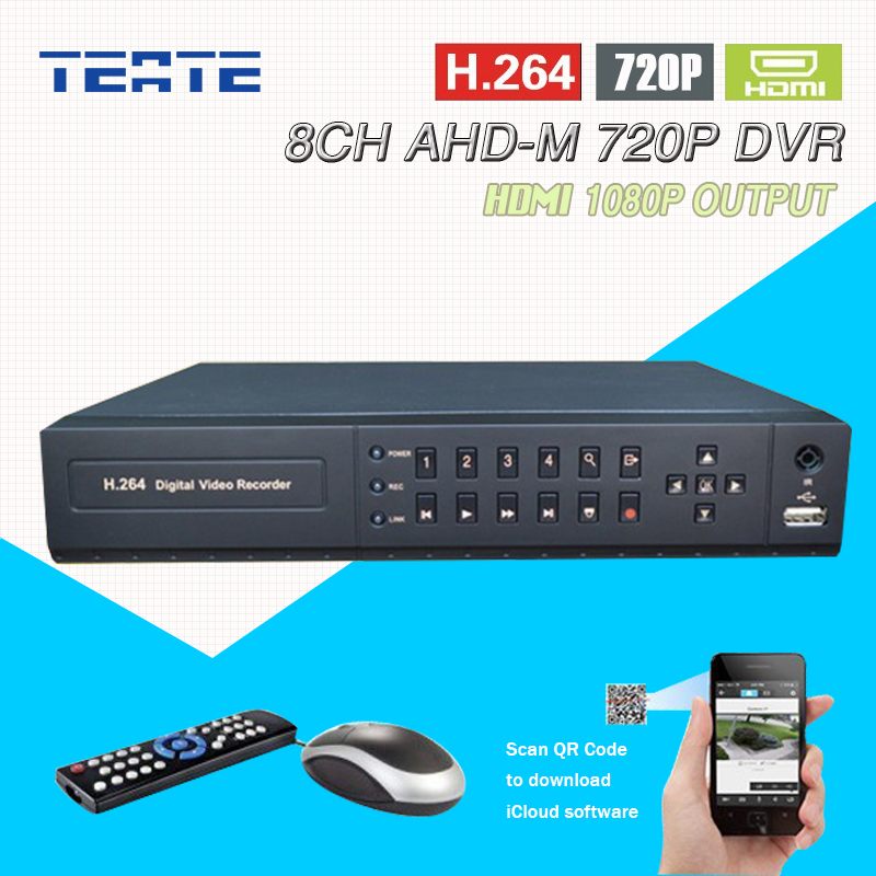 TEATE AHD 720P 1.0mp 25fps real time recording HDMI 1080P dvr 8ch CCTV Hybrid H.264 8 Channel AHD-M dvr NVR recorder T-G08D7PB05