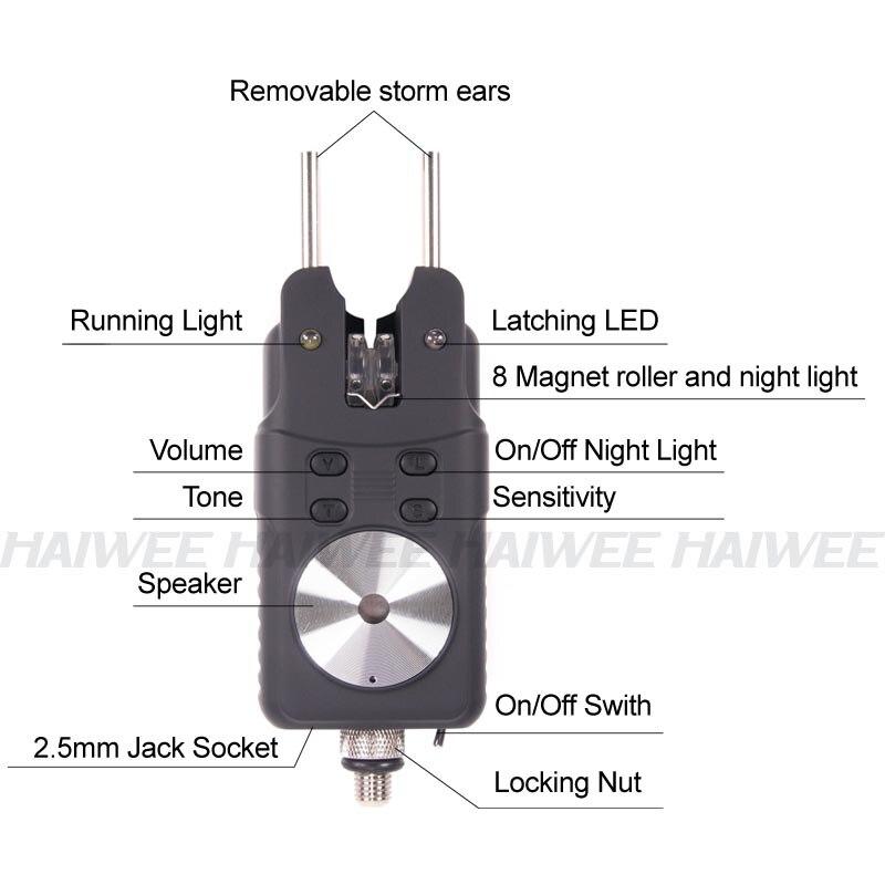 Bonne qualité 4 + 1 coloré lumière LED réception sans fil carpe pêche morsure alarme - 4