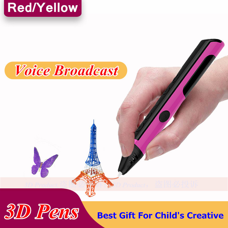 Newest 3D Drawing Pen Can Speaking 3D Pens For Children's New Year Gifts 1.75mm Free 3D Plastic Creative Gift For Kids Painting creative gifts 3d pop up card greeting
